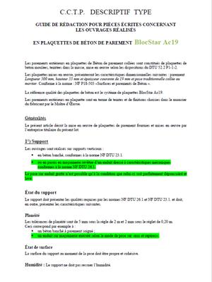 Fiche CCTP Plaquette Ac19