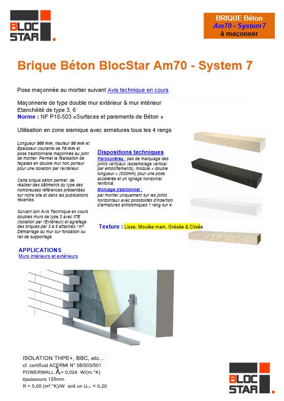 Fiche Produit Brique Am70 - System7