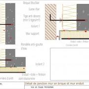 Pose de briques - jonction mur brique - mur enduit